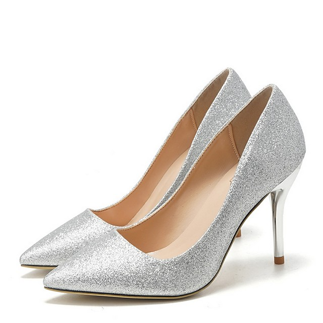 Women's Wedding Shoes Stiletto Heel Pointed Toe PU Spring & Summer Champagne / Silver