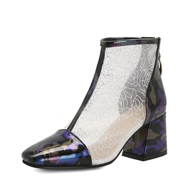 Women's Boots Chunky Heel Round Toe PU Spring &  Fall Wine / Purple / Green