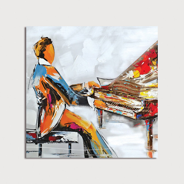 Hand Painted Canvas Oilpainting Abstract People Playing Piano by Knife Home Decoration with Frame Painting Ready to Hang