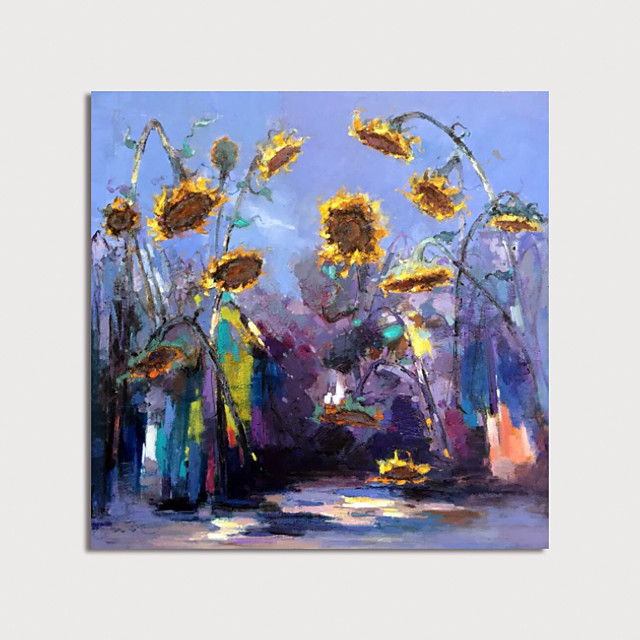 Hand Painted Canvas Oilpainting Impression Sunflowers  by Knife Home Decoration with Frame Painting Ready to Hang