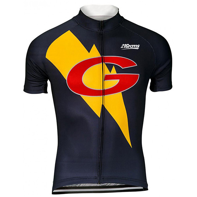21Grams Men's Short Sleeve Cycling Jersey Black / Yellow Cartoon Bike Jersey Top Mountain Bike MTB Road Bike Cycling UV Resistant Breathable Quick Dry Sports Clothing Apparel / Stretchy / Race Fit