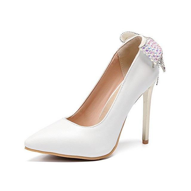 Women's Wedding Shoes Stiletto Heel Pointed Toe Bowknot PU Spring & Summer White