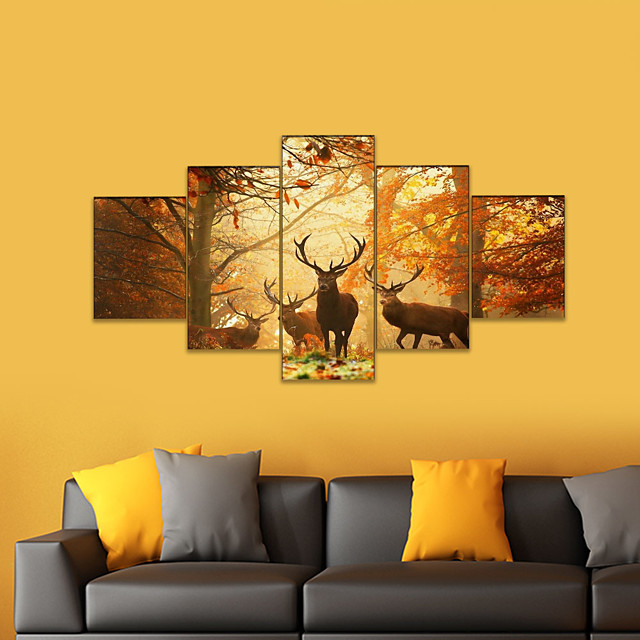 AMJ hot sale autumn elk pentagram living room sofa background wall decoration canvas painting frameless painting core 158*80 cm