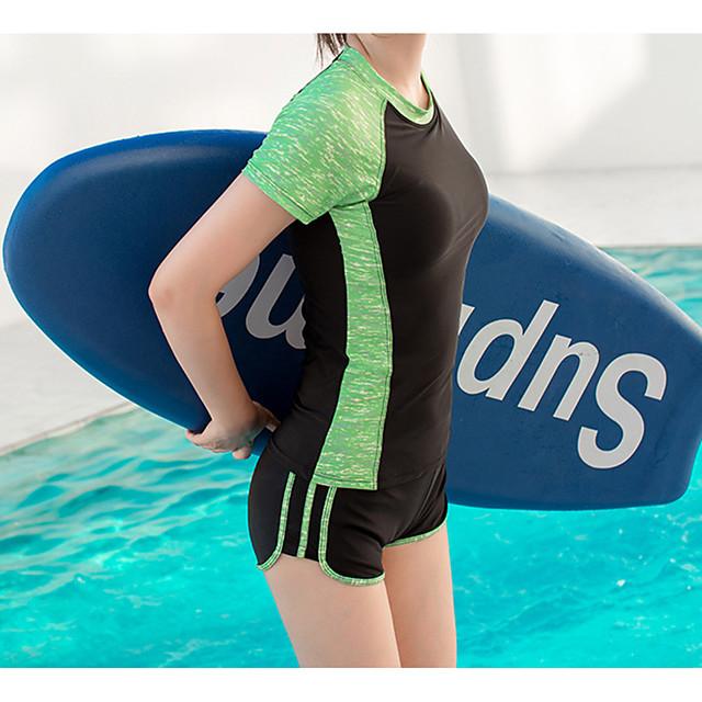 Women's Rash Guard Dive Skin Suit Tankini Diving Suit UV Sun Protection Anatomic Design Short Sleeve 2-Piece - Diving Water Sports Patchwork Summer / Micro-elastic