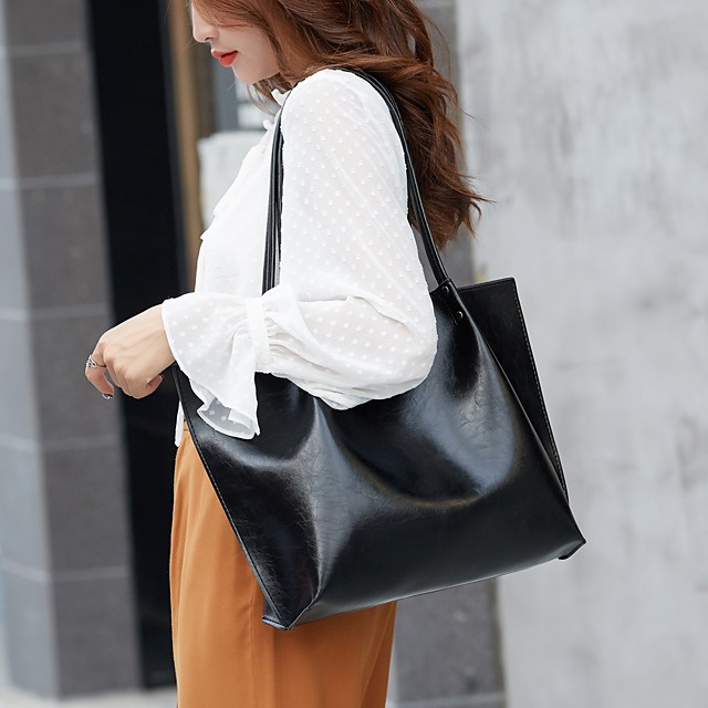 Women's PU Top Handle Bag Solid Color Wine / Dark Green / Brown