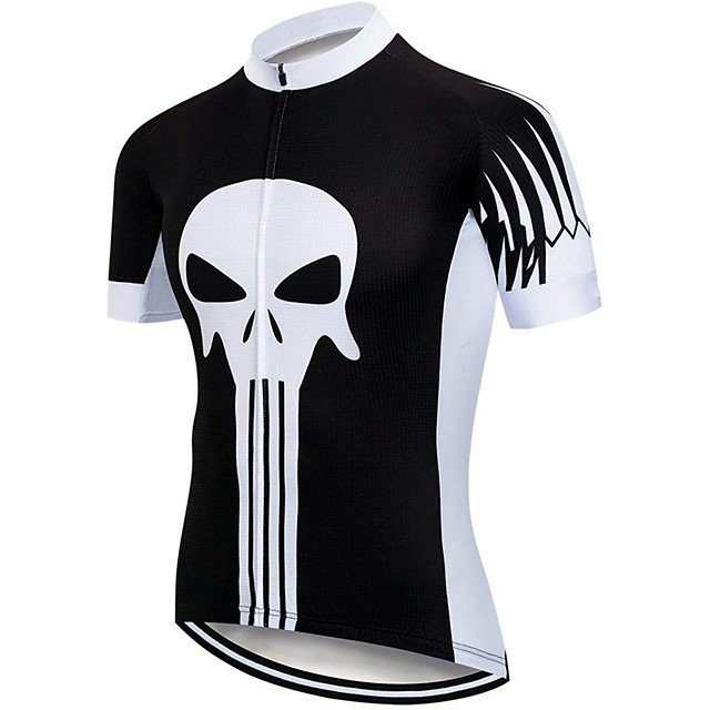 21Grams Men's Short Sleeve Cycling Jersey Spandex Polyester Black / White Skull Bike Jersey Top Mountain Bike MTB Road Bike Cycling UV Resistant Breathable Quick Dry Sports Clothing Apparel