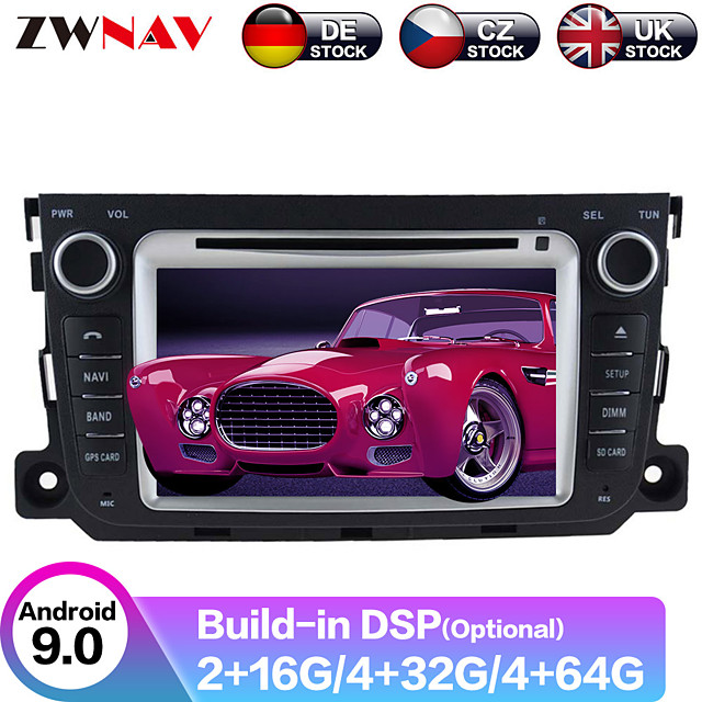 ZWNAV 8inch 2din Android 9.0 DSP 4GB 64GB Car DVD Player GPS navigation Car auto radio Car multimedia Player Car MP5 Player recorder For Benz Smart 2010-2014