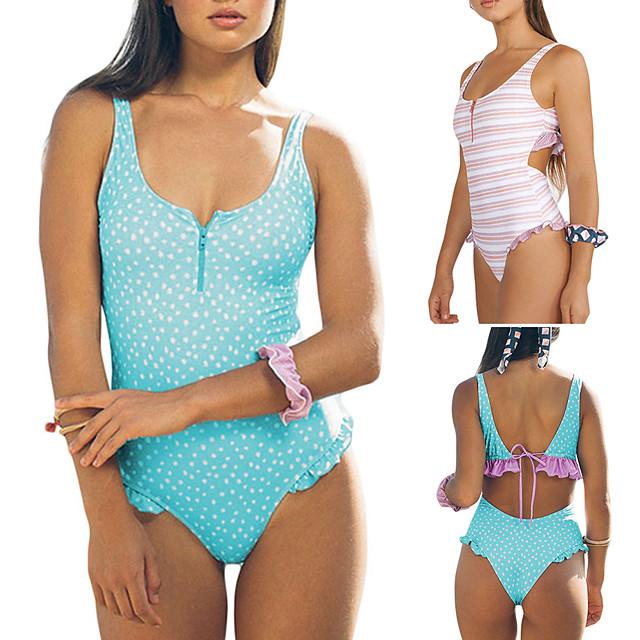 Women's One Piece Swimsuit Padded Swimwear Swimwear Blushing Pink Blue White UV Sun Protection Breathable Quick Dry Sleeveless - Swimming Water Sports Summer / Elastane / High Elasticity