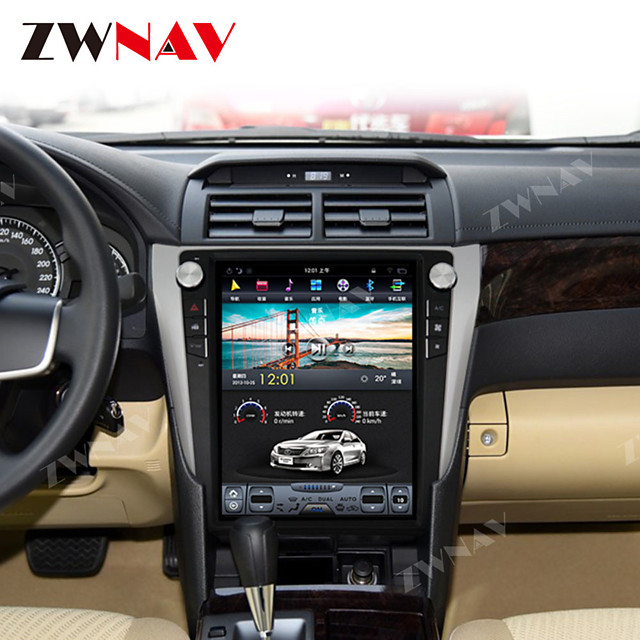 ZWNAV 12.1 Inch 1DIN Vertical screen 4GB 64GB Android 8.1 Car DVD Player GPS Navigation Car Multimedia Player Stereo In-dash for Toyota Camry Aurion 2012- 2016