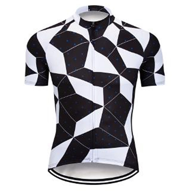 21Grams Men's Short Sleeve Cycling Jersey Polyester Spandex Black / White Plaid / Checkered Bike Jersey Top Mountain Bike MTB Road Bike Cycling UV Resistant Breathable Quick Dry Sports Clothing