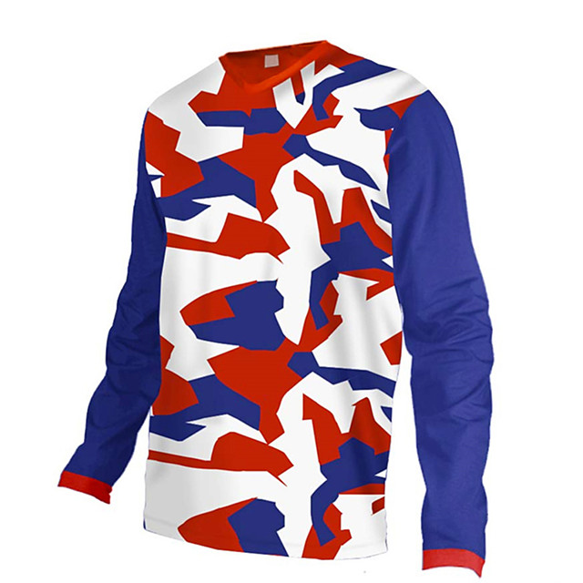 21Grams Men's Long Sleeve Cycling Jersey Downhill Jersey Dirt Bike Jersey Polyester Spandex Red / White Camo / Camouflage Bike Jersey Top Mountain Bike MTB Road Bike Cycling UV Resistant Breathable