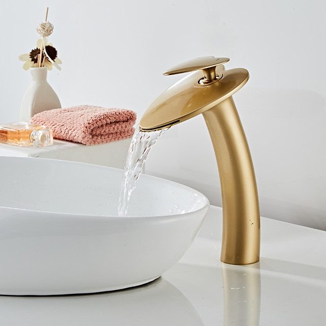 Beautiful Bathroom Sink Faucet -Golden Waterfall Painted Finishes Centerset Single Handle One HoleBath Taps