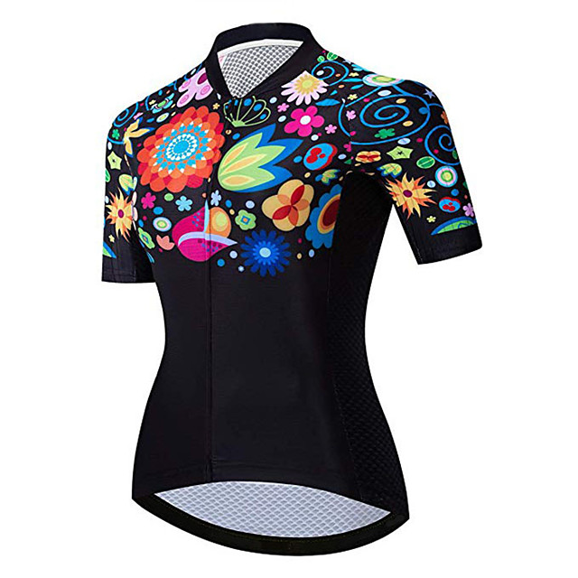 21Grams Women's Short Sleeve Cycling Jersey Black / Red Floral Botanical Bike Jersey Top Mountain Bike MTB Road Bike Cycling UV Resistant Breathable Quick Dry Sports Clothing Apparel / Stretchy