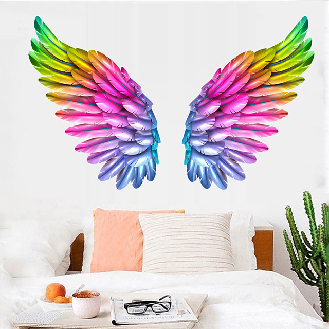 Creative Angel Wings Wall Stickers Ins Bedroom Wall Decoration Room Layout Self-adhesive Removable Wallpaper Room Decoration