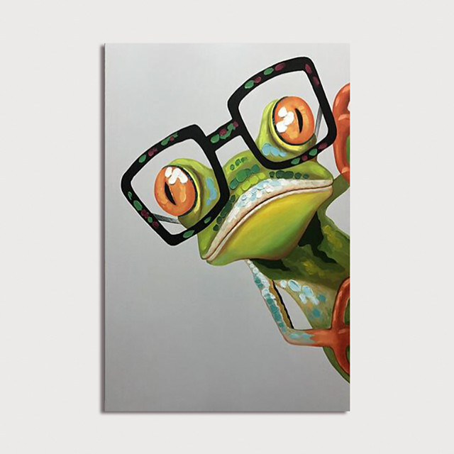 Hand Painted Canvas Oilpainting Abstract Frog with Glasses Home Decoration with Frame Painting Ready to Hang