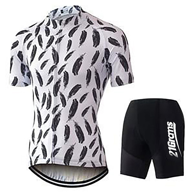 21Grams Men's Short Sleeve Cycling Jersey with Shorts Polyester Spandex Black / White Feather Bike Clothing Suit UV Resistant Breathable 3D Pad Quick Dry Sweat-wicking Sports Solid Color Mountain