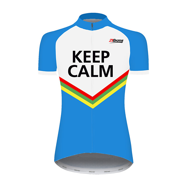 21Grams Women's Short Sleeve Cycling Jersey Blue / White Stripes Patchwork Bike Jersey Top Mountain Bike MTB Road Bike Cycling UV Resistant Breathable Quick Dry Sports Clothing Apparel / Stretchy