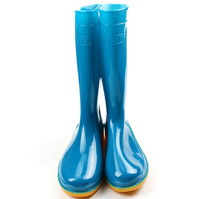 Women's Boots Flat Heel Round Toe PVC Mid-Calf Boots Spring & Summer / Fall & Winter Red / Blue