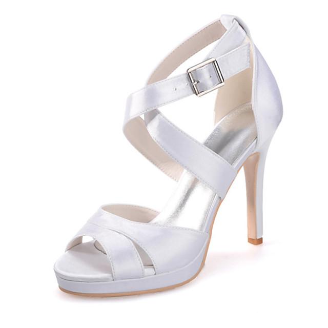 Women's Wedding Shoes Stiletto Heel Open Toe Satin Sweet Spring & Summer White / Purple / Red / Party & Evening