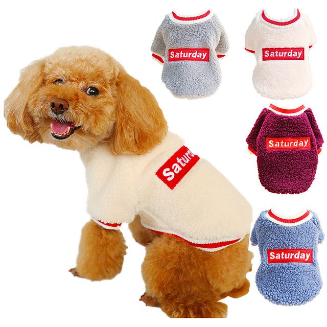Dog Cat Shirt / T-Shirt Sweatshirt Dog Clothes Warm Purple Beige Dark Blue Costume Beagle Bulldog Shiba Inu Flannel Fabric Slogan Ordinary Casual / Sporty XS S M L XL
