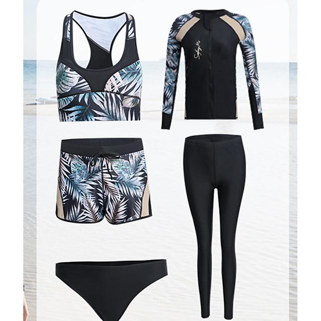 Women's Rash Guard Dive Skin Suit Diving Suit Anatomic Design Long Sleeve Front Zip 3-Piece - Diving Water Sports Painting Summer / Micro-elastic