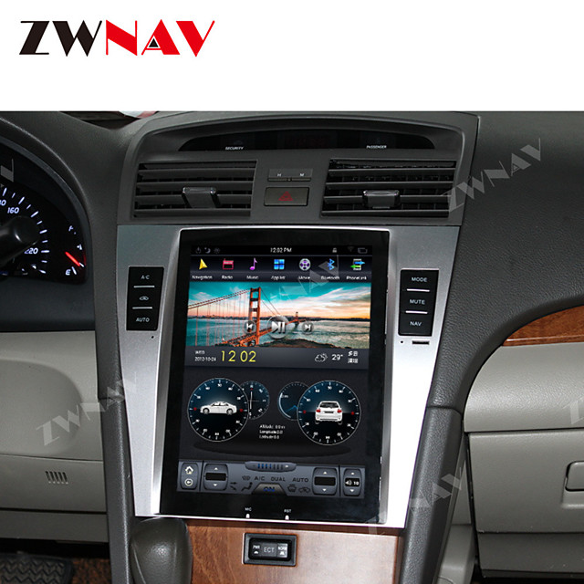 ZWNAV 10.4 Inch 1DIN 4GB 64GB Android 8.1 PX6 Tesla style Car GPS Navigation stereo Car multimedia player Car MP5 Player radio tape recorder For TOYOTA CAMRY 2007-2011