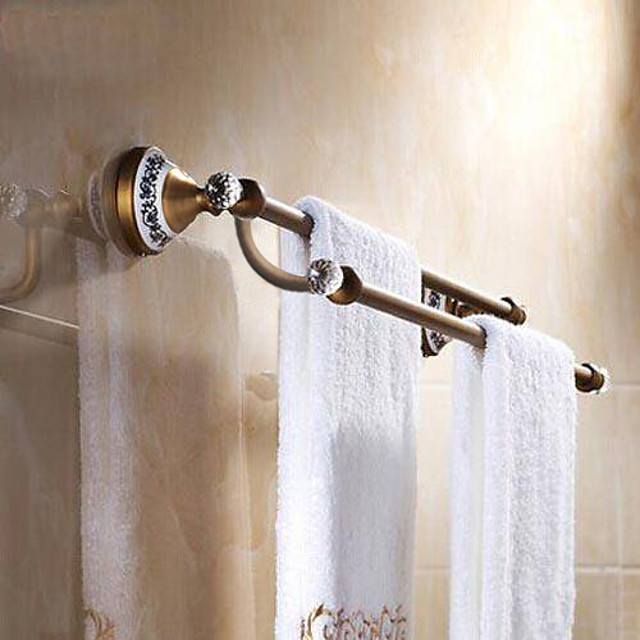 Multifunction Towel Bar Antique Brass Crystal and Ceramic for Bath 2-tower bar 1pc