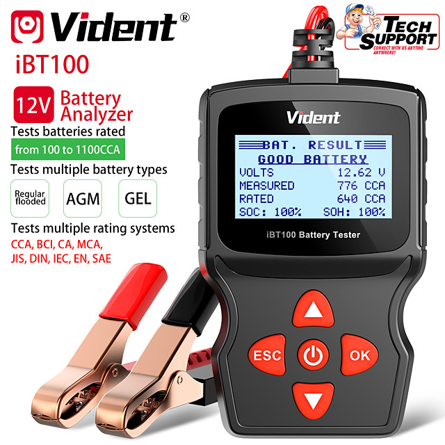 Vident iBT100 12V Battery Analyzer for Flooded AGMGEL 100-1100CCA Automotive Tester Diagnostic Tool OBDII Code Reader and Car Diagnostic Tool OBD2 Automotive Scanner