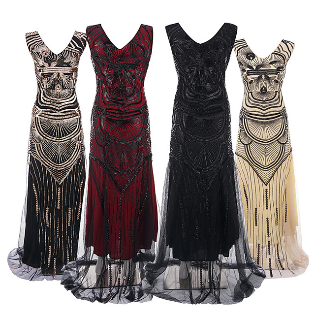 The Great Gatsby Vintage 1920s Flapper Dress Dress Party Costume Women's Sequin Costume Black / Black / Red / Black+Golden Vintage Cosplay Party Sleeveless