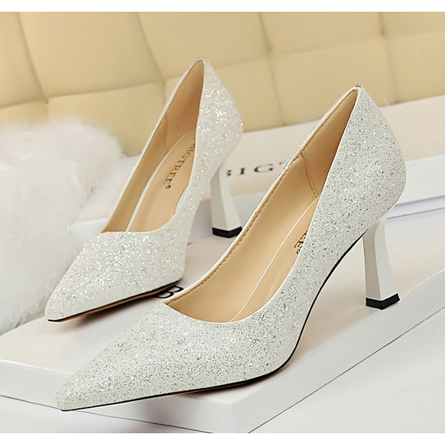 Women's Wedding Shoes Glitter Crystal Sequined Jeweled Chunky Heel Pointed Toe PU Spring & Summer Pink / Champagne / Gold