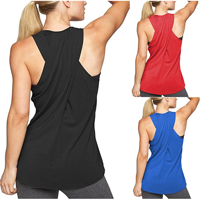 Women's Yoga Top Yoga Tops Cross Back Fashion Black Red Pink Grey Green Cotton Fitness Gym Workout Running Tee Tshirt Tank Top Sleeveless Sport Activewear Lightweight Breathable Quick Dry Moisture
