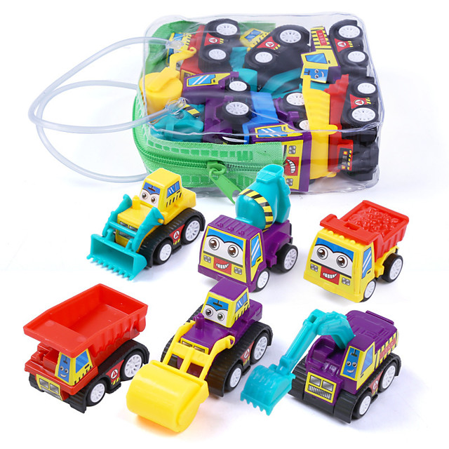 Car Vehicles Construction Truck Set Fire Engine Vehicle Focus Toy Lovely Plastic Shell Mini Car Vehicles Toys for Party Favor or Kids Birthday Gift 6 pcs