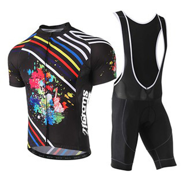 21Grams Men's Short Sleeve Cycling Jersey with Bib Shorts Polyester Spandex Black / Red Stripes Bike Clothing Suit UV Resistant Breathable 3D Pad Quick Dry Sweat-wicking Sports Solid Color Mountain