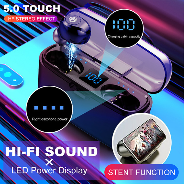 Wireless Bluetooth Earphone  V5.0 F9-8 TWS Wireless Bluetooth Headphone LED Display 2000mAh Charging Box Headsets With CVC8.0 Noise Reduction Microphone