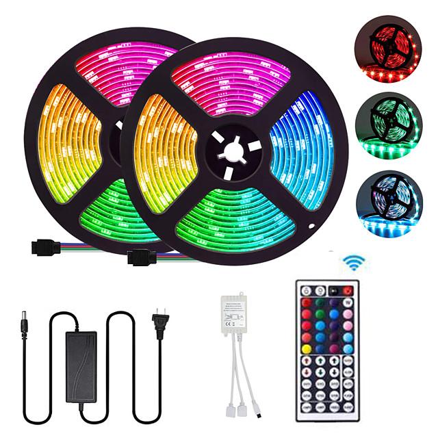 2x5M Flexible LED Strip Lights Light Sets RGB Tiktok Lights 300 LEDs SMD5050 10mm 1 12V 6A Adapter / 1 44Keys Remote Controller 1 set Multi Color Waterproof / Cuttable / Party 85-265 V