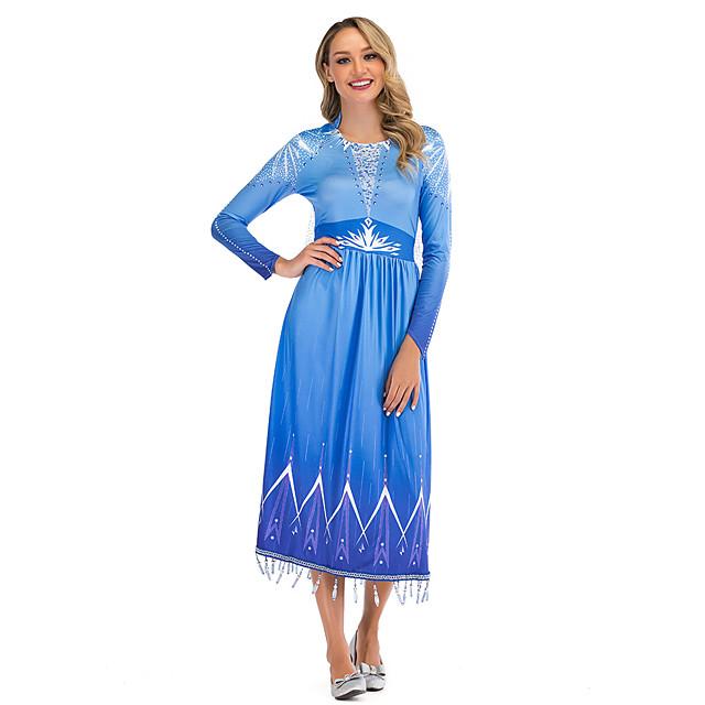 Princess Elsa Dress Women's Movie Cosplay Cosplay Blue Dress Halloween Carnival Masquerade Polyester