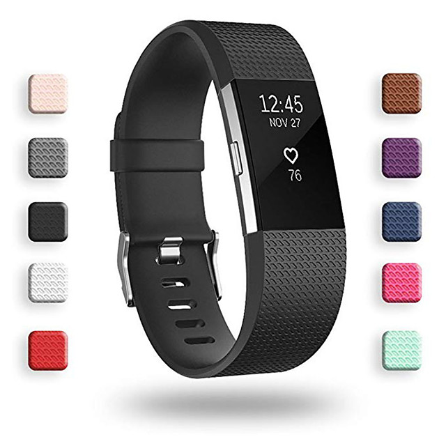 Watch Band for Fitbit Charge 2 Fitbit Classic Buckle Silicone Wrist Strap