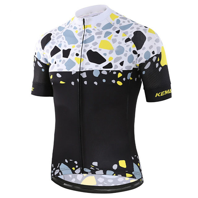 21Grams Men's Women's Short Sleeve Cycling Jersey Black / White Patchwork Bike Jersey Top Mountain Bike MTB Road Bike Cycling UV Resistant Breathable Quick Dry Sports Clothing Apparel / Stretchy