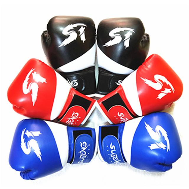 Boxing Gloves For Martial Arts Muay Thai MMA Kickboxing Full Finger Gloves Durable Shock Absorption Breathable Shockproof Kids Women's Men's - Black Red Blue