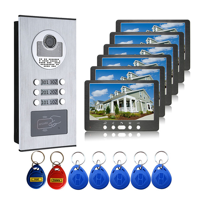 Wired 7 Inch Hands-free 800*480 Pixel One To Six Video Doorphone