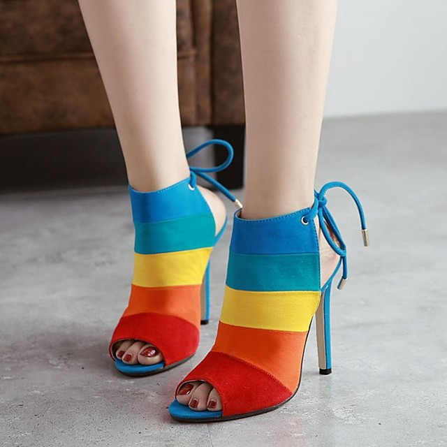 Women's Sandals Stiletto Heel Open Toe Suede Summer Brown / Rainbow