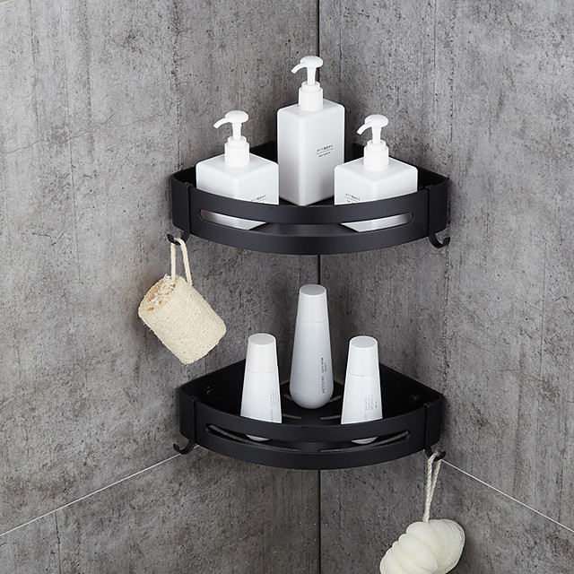 Bathroom Shelf Space Aluminum Brushed Black and Silvery Wall Mount Triangle Shower Corner Storage Rack Bath Accessories Single Layer