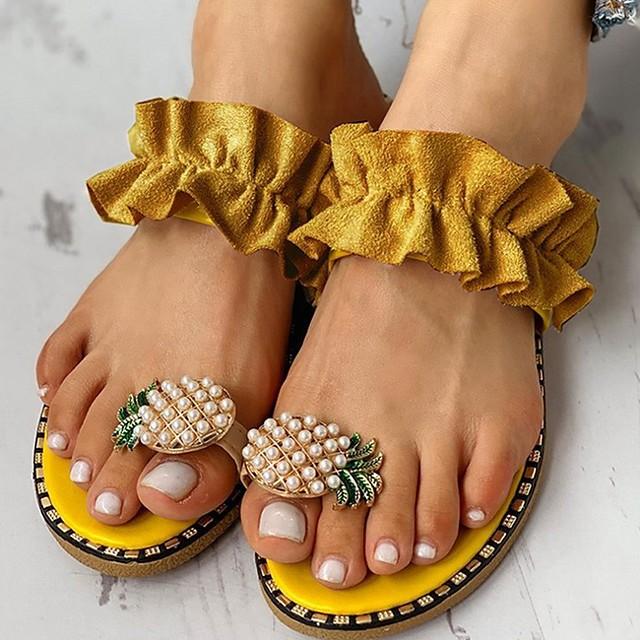Women's Sandals Boho / Beach Flat Sandals Summer Flat Heel Open Toe Daily Canvas / PU Yellow / Beige