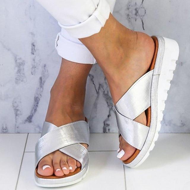 Women's Sandals Wedge Sandals Flat Sandals Summer Wedge Heel Open Toe Daily PU Gold / Green / Silver