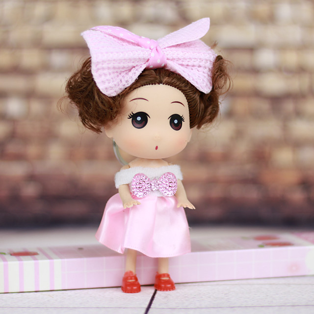 Mousse Curly Short Hair Little Girl Wearing Dress Spring Head ABS Doll Desktop Furnishing Article(Random Color,1PCS)