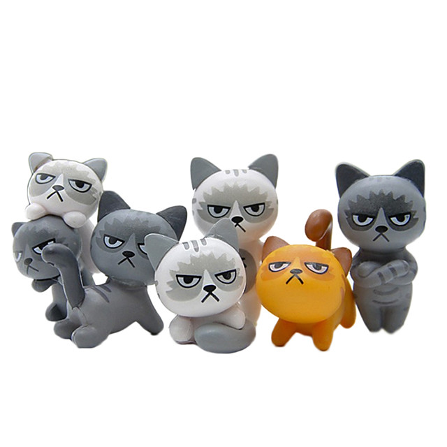6Pcs Lovely Unhappy Angry Cats Action Figure Toy Room Decoration Kids Toy