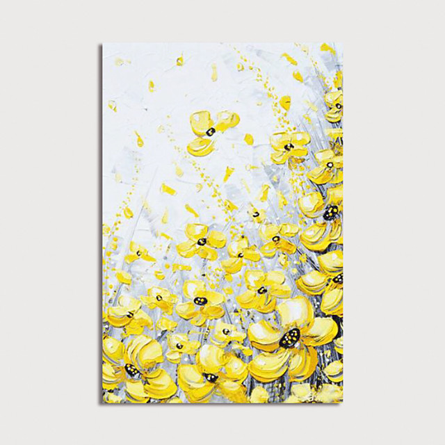 Hand Painted Canvas Oilpainting Abstract Yellow Flowers by Knife Home Decoration with Frame Painting Ready to Hang