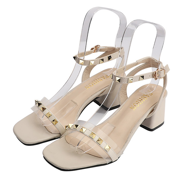 Women's Sandals Block Heel Open Toe Rivet PU Sweet Summer Almond / Black / Beige