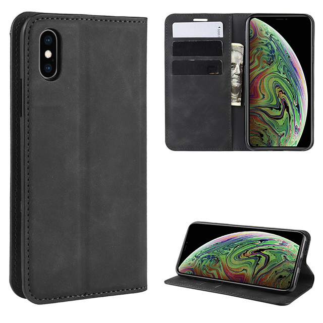 For  iphone XS Max Retro-skin Business Magnetic Suction Leather Case with Holder & Card Slots & Wallet