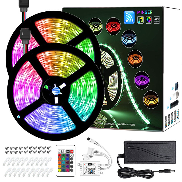 10M(2*5M) Intelligent Dimming App Control Flexible Led Strip Lights Waterproof 5050 RGB SMD 300 LEDs IR 24 Key Controller with Installation Package 12V 4A Adapter Kit